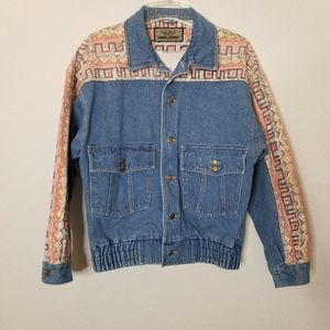 Vintage Distressed Southwest Denim Jacket 80s